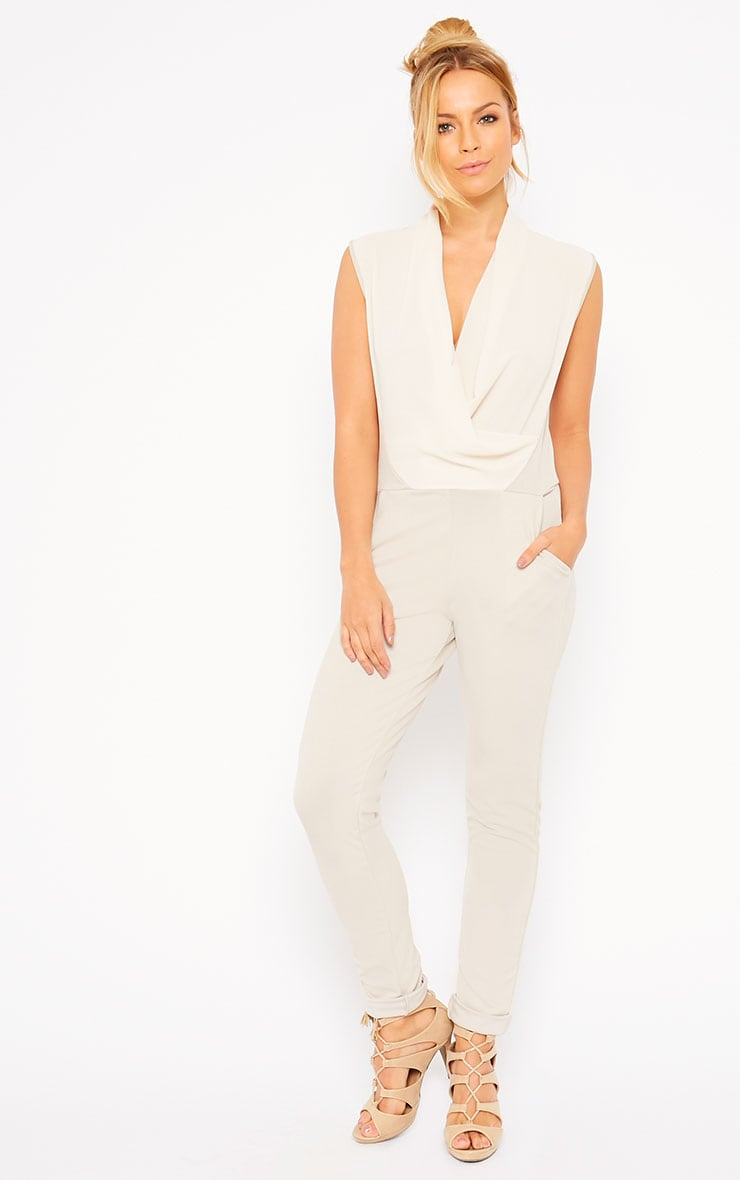 Julia Cream Cowl Neck Jumpsuit 1