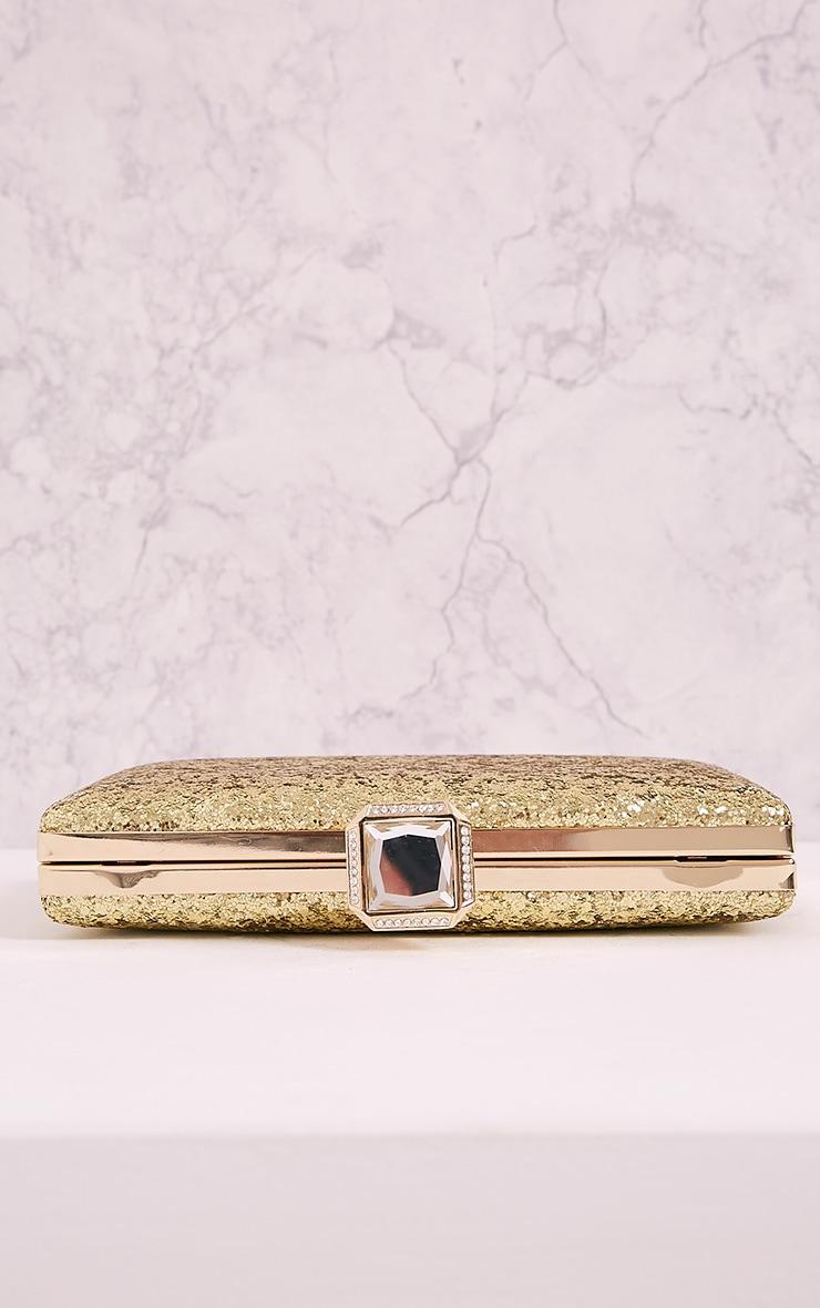 Dinnie Gold Glitter Box Clutch Bag 6