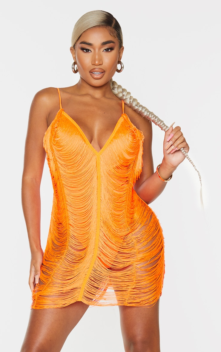 Shape Bright Orange Fringe Detail Bodycon Dress 1