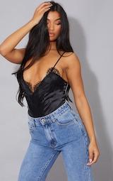 Black Eyelash Lace Trim Thong Bodysuit  1