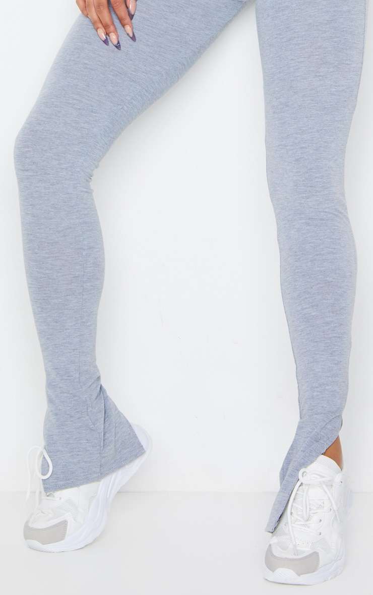 Grey Marl Basic Jersey Split Hem Leggings 4