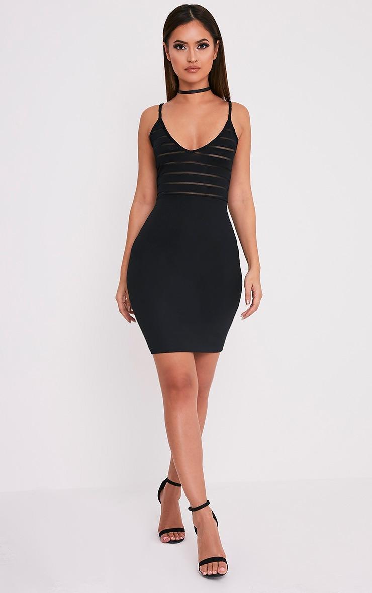 Harriette robe moulante à top en tulle à rayures noire 4