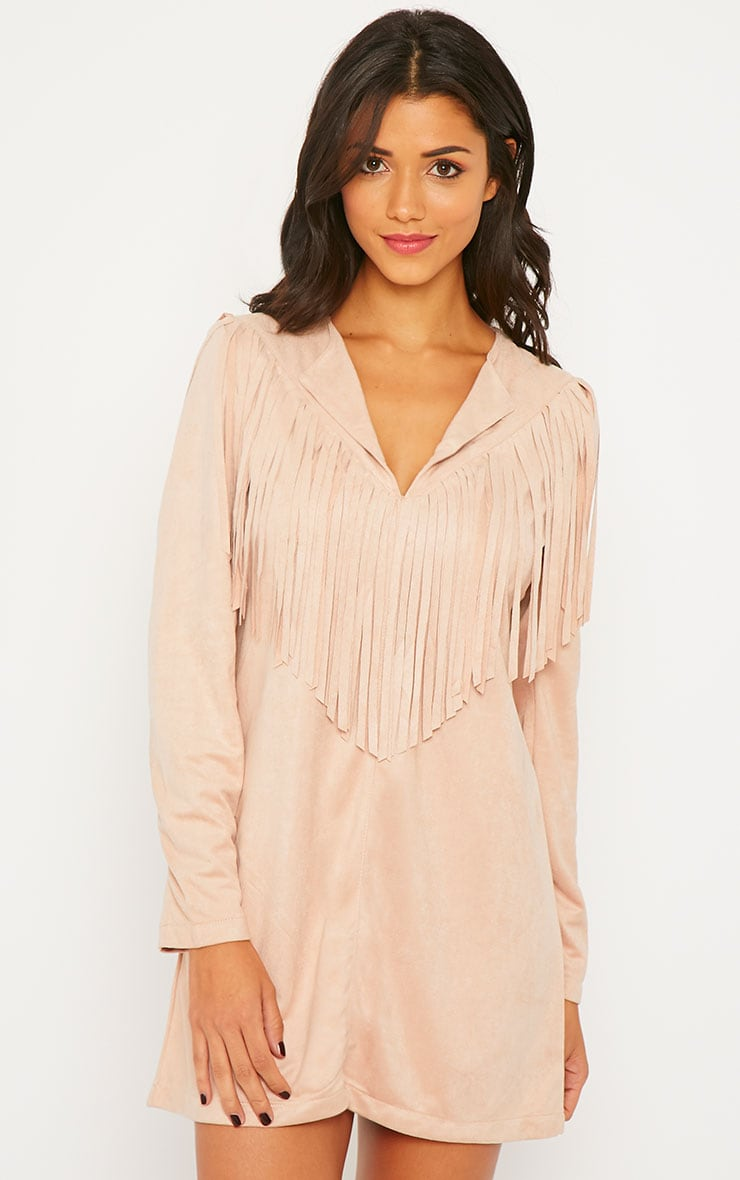 Elvin Nude Suede Fringe Mini Dress 1