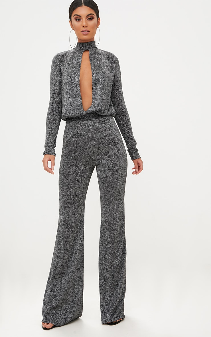 Grey Metallic Keyhole Cut Out Jumpsuit 1