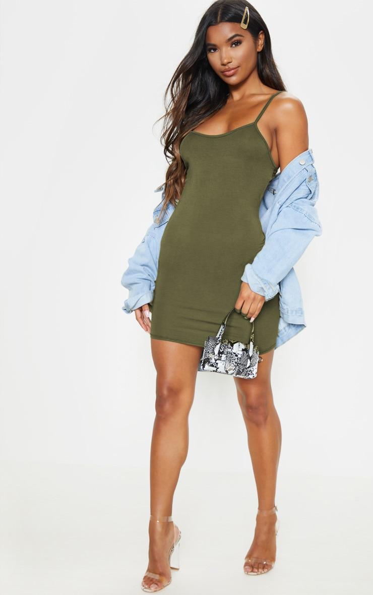 Khaki Strappy Scoop Neck Bodycon Dress 4