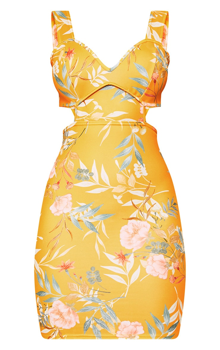 Yellow Floral Cut Out Detail Bodycon Dress 3