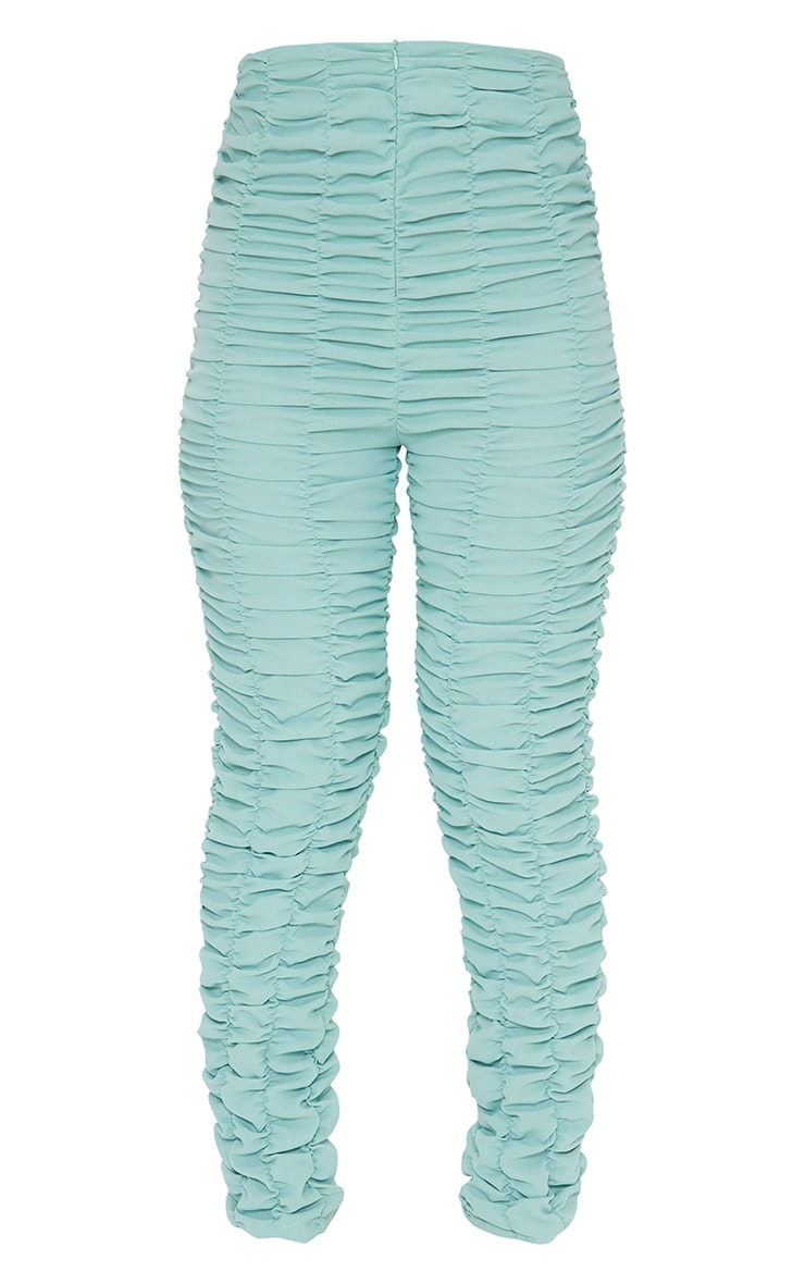 Washed Green Ruched Leg Woven Skinny Pants 5