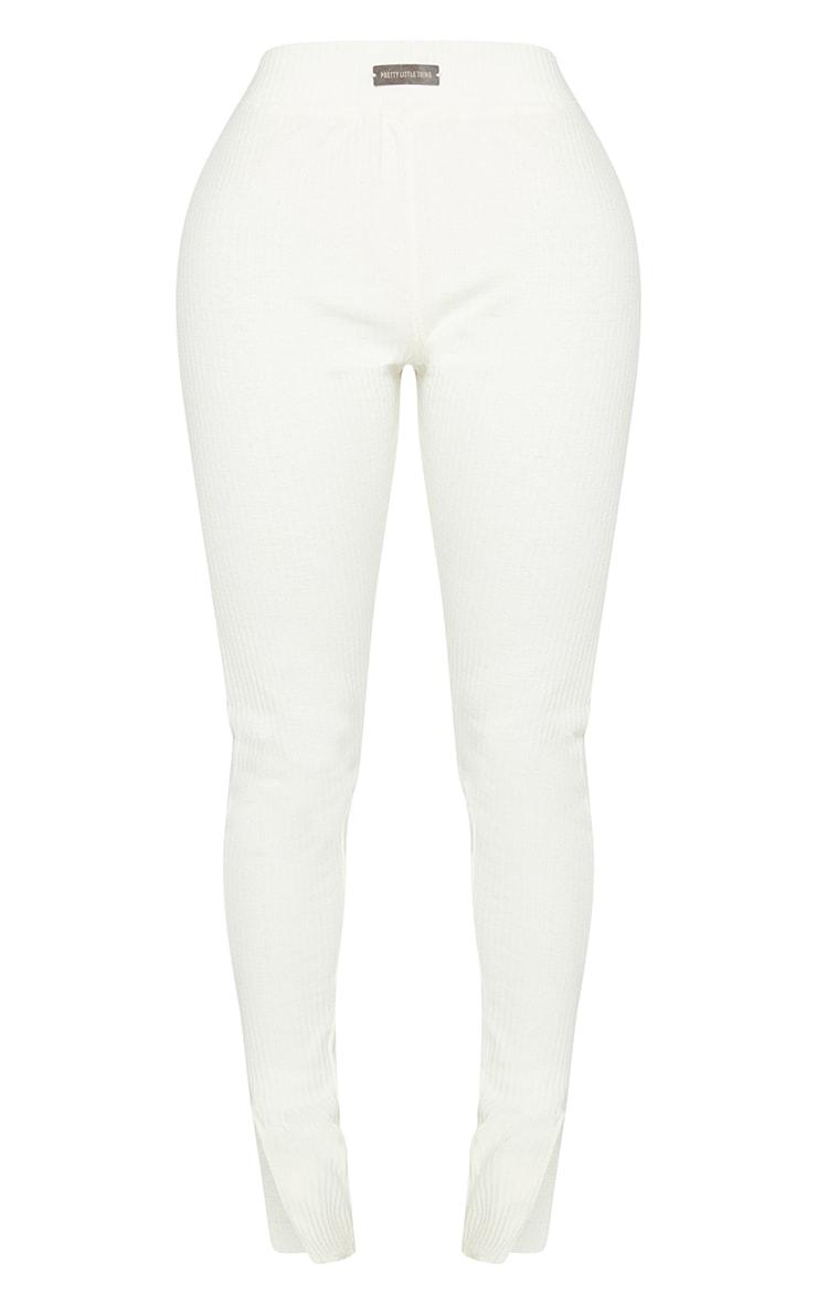 PRETTYLITTLETHING Shape Cream Rib Badge Detail Ruched Bum Leggings 5