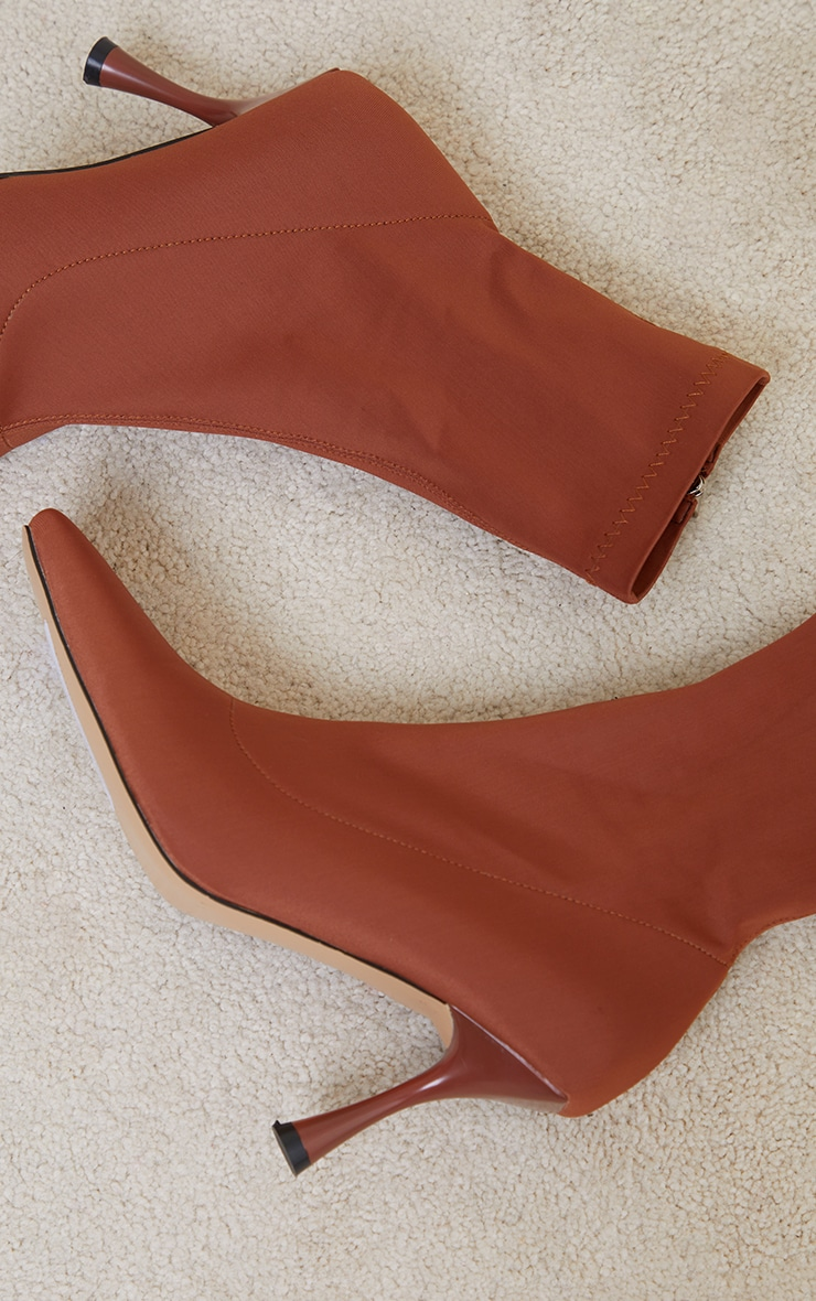 Chocolate Lycra Square Toe Mid Heel Sock Boots 4