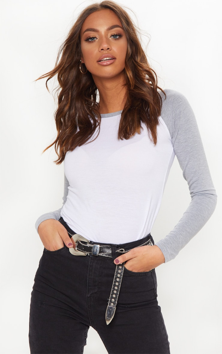 white contrast long sleeve top