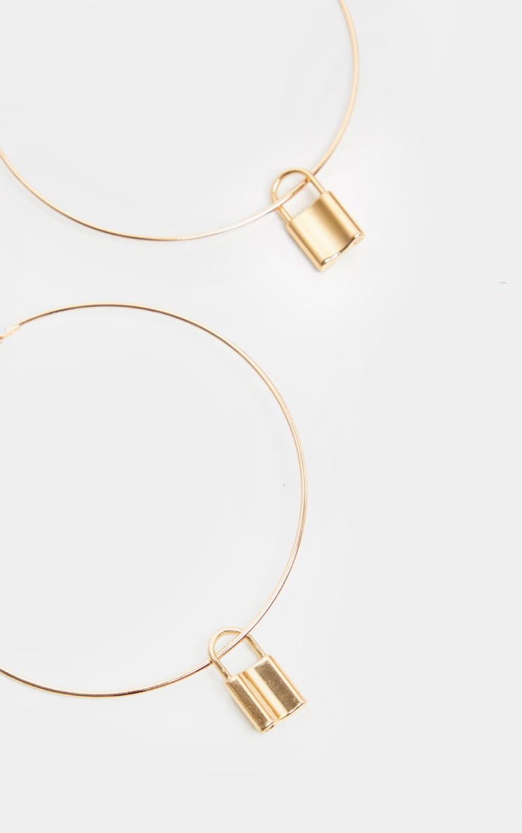 Gold Padlock Charm Extra Large Hoop Earrings 3