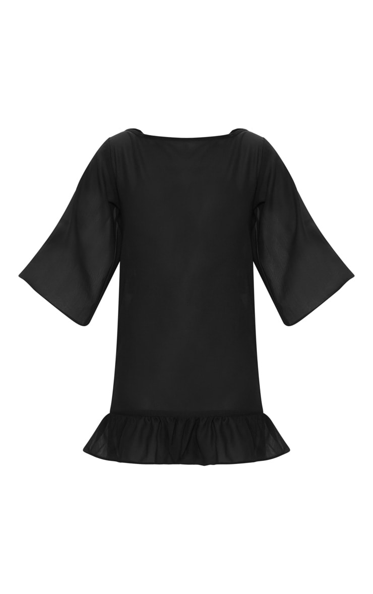 Black Tassel Low Back Frill Beach Dress 3