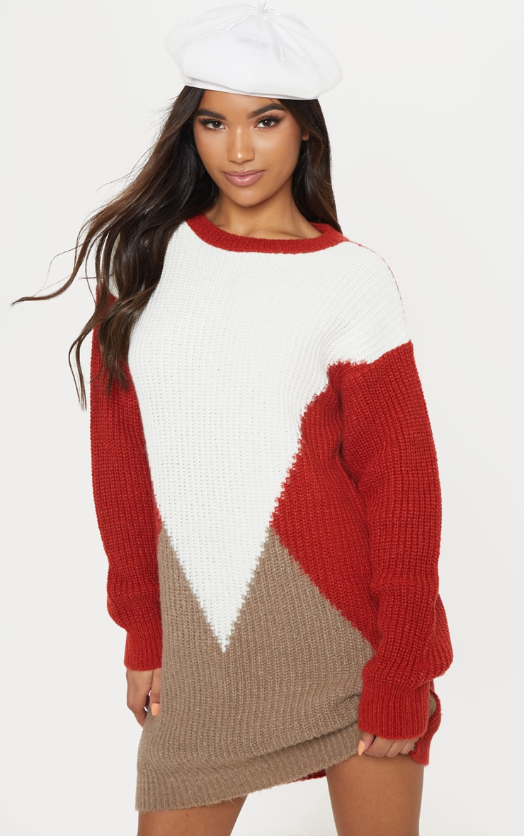 Cream Colour Block Knitted Jumper Dress