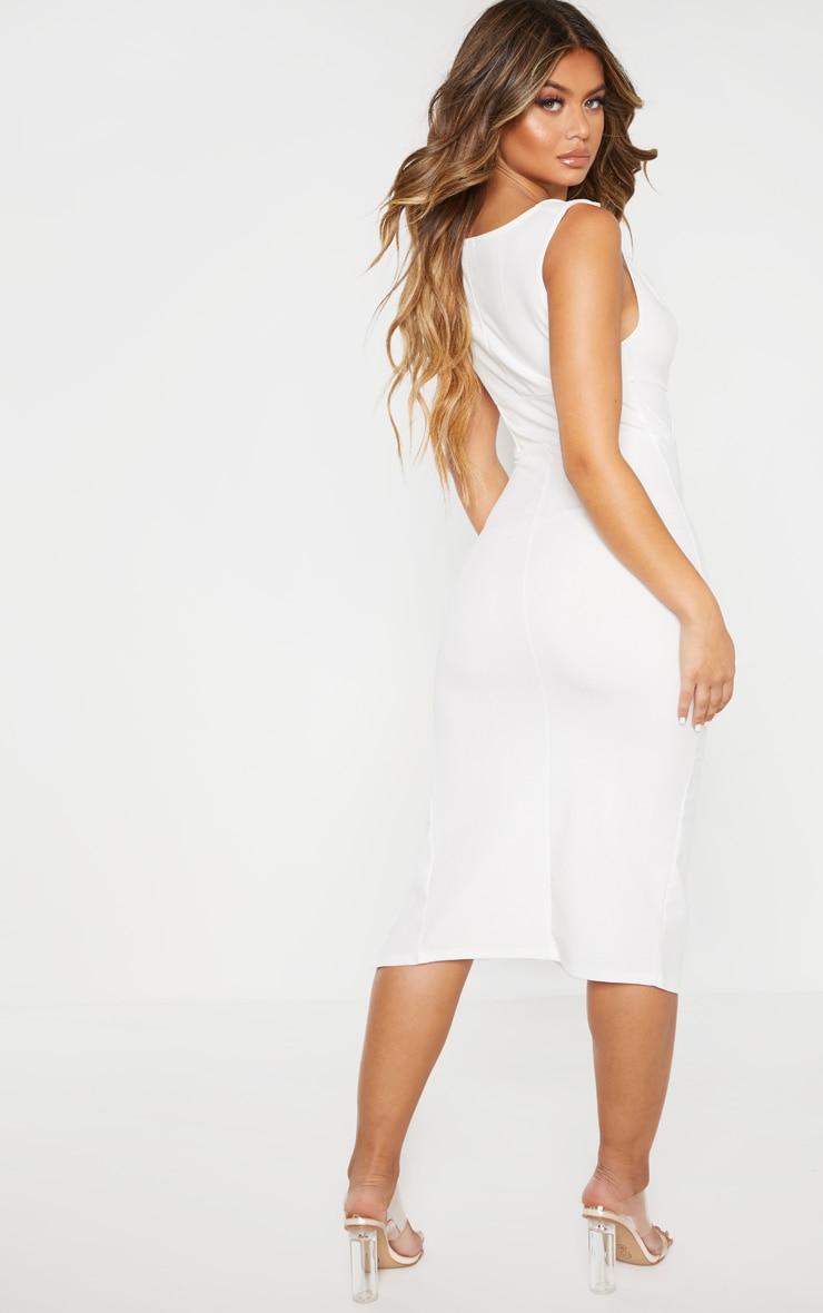 White Ruched Cowl Neck Midi Dress 2