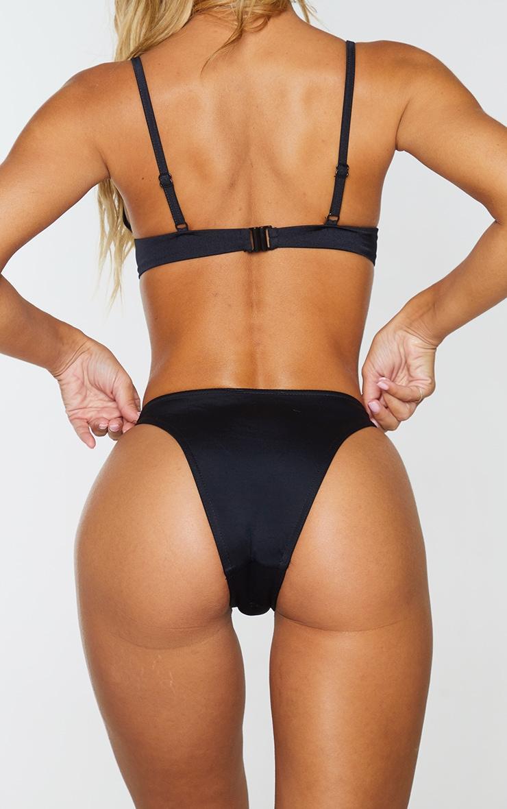 Black Recycled Fabric Mix & Match High Leg Bikini Bottom 3