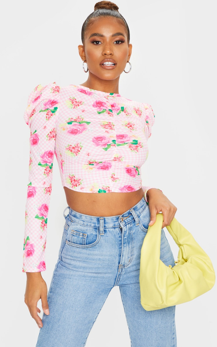 Baby Pink Floral Ruched Long Sleeve Top 1