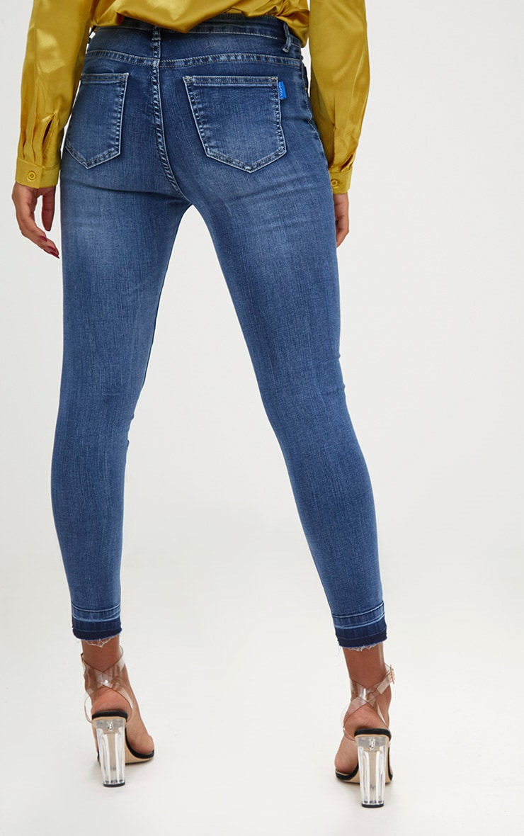 Mid Wash Contrast Hem High Waisted Skinny Jeans  4