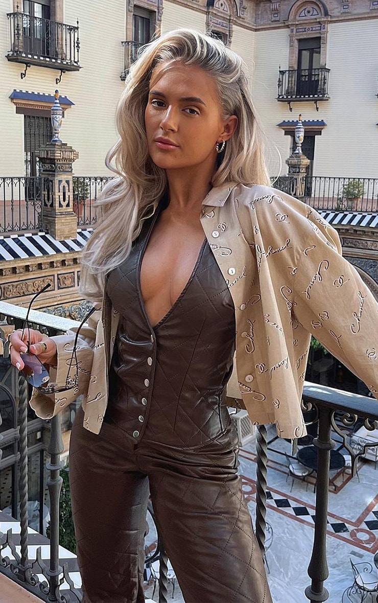 Chocolate Brown Quilted Faux Leather Halterneck Waistcoat 1