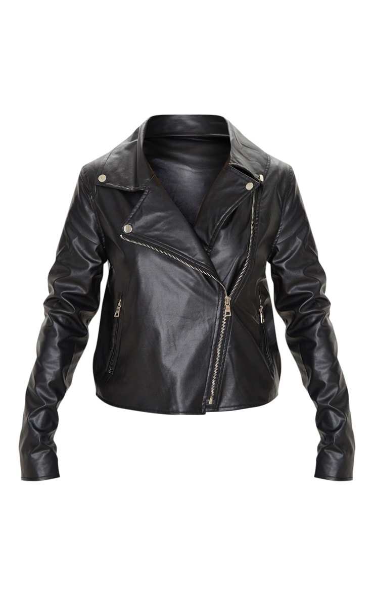 Black PU Zipped Biker Jacket 3