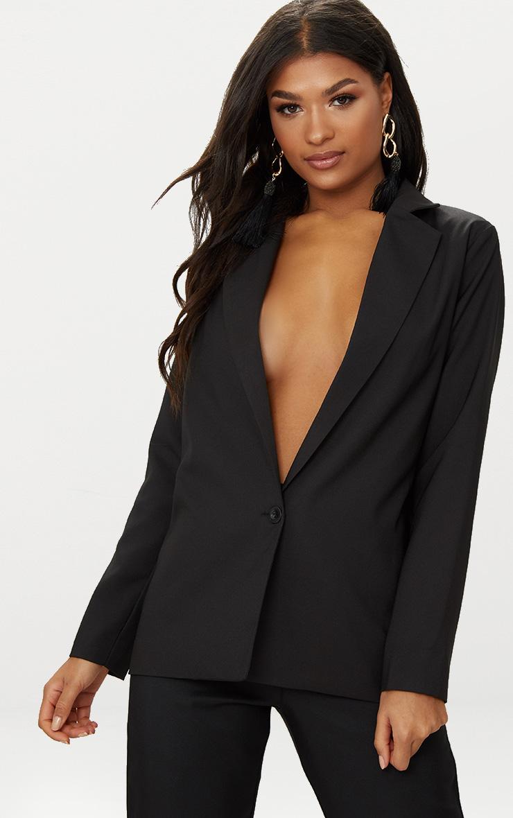 Black Oversized Boyfriend Fit Woven Blazer 1