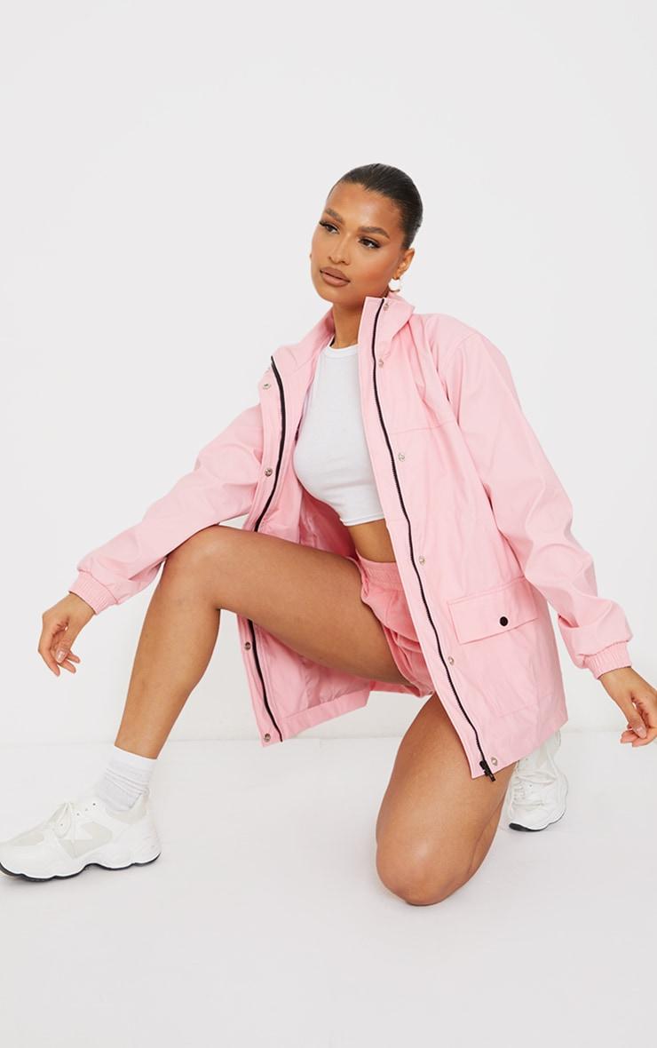 Pink Pocket Front Waterproof Rain Mac 1