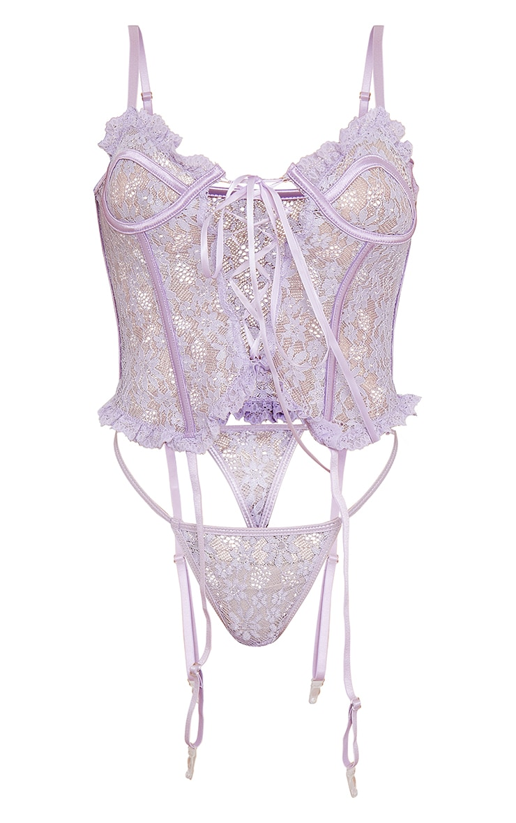 Lilac Floral Lace Lace Up Corset With Suspender And Thong 5