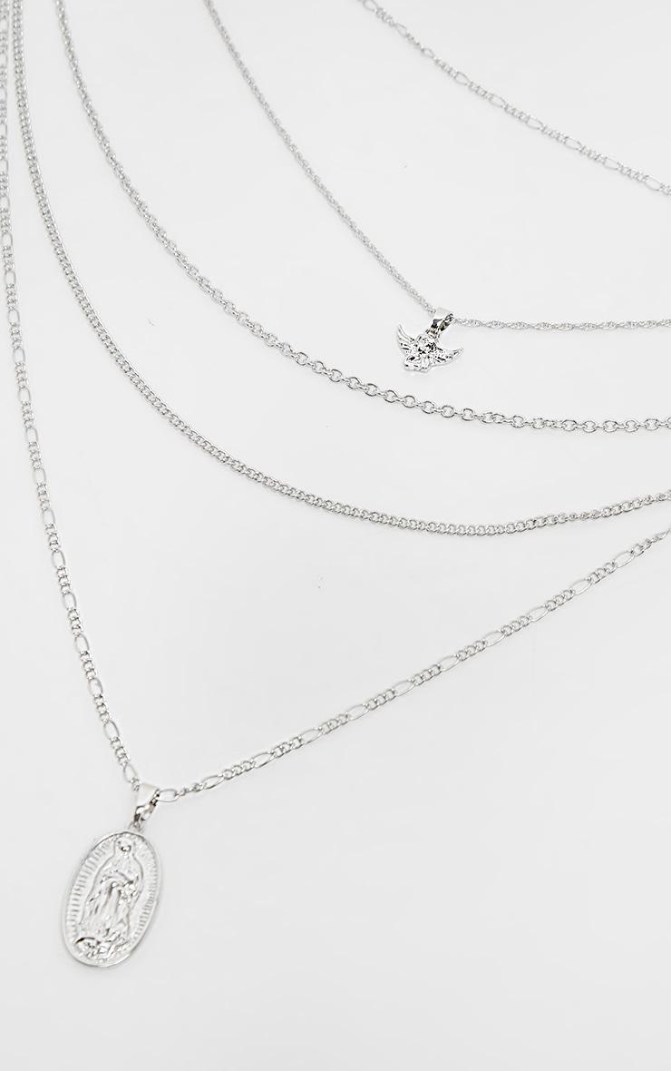 Collier à chaînes superposées argentées à pendentif chérubin 4