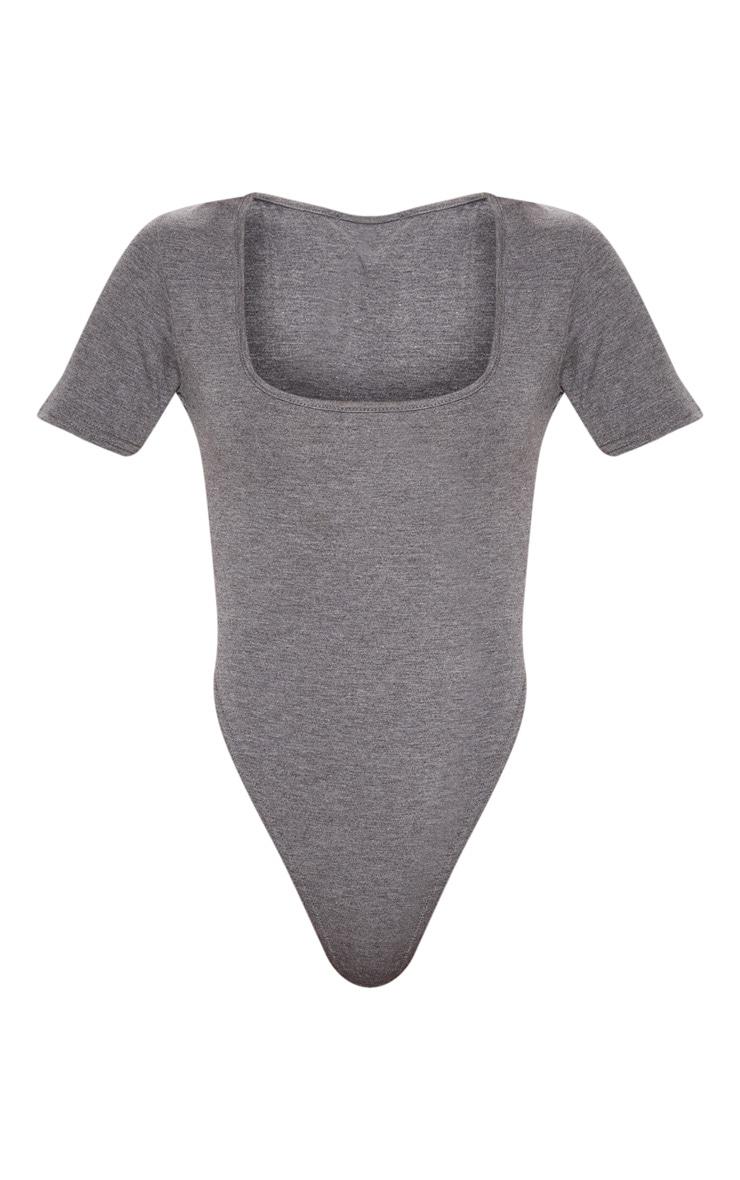 Charcoal Grey Jersey Short Sleeve Scoop Neck Bodysuit 3