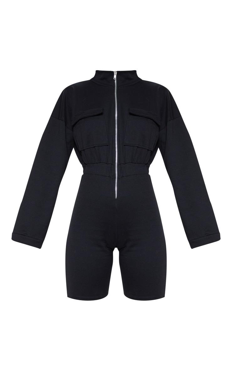 Black Zip Front Long Sleeve Sweat Unitard 3