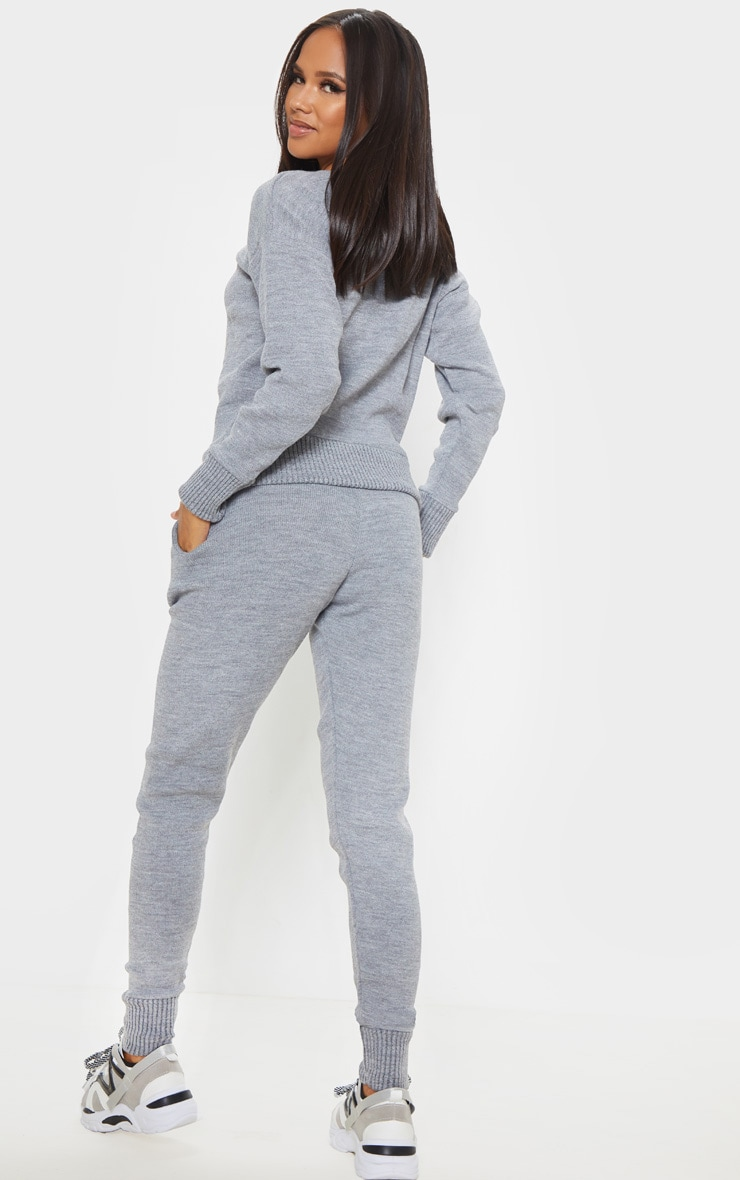 Dark Grey Jogger Knitted Lounge Set 2