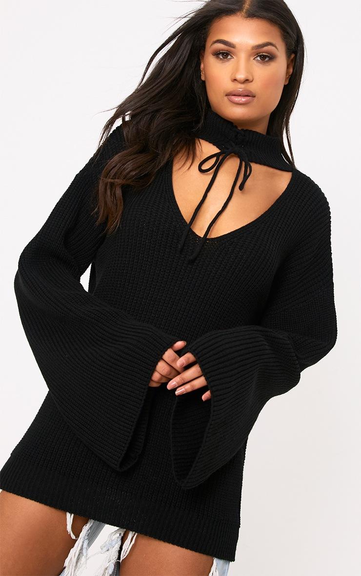 Jennah Black Tie Choker Knit Jumper 1