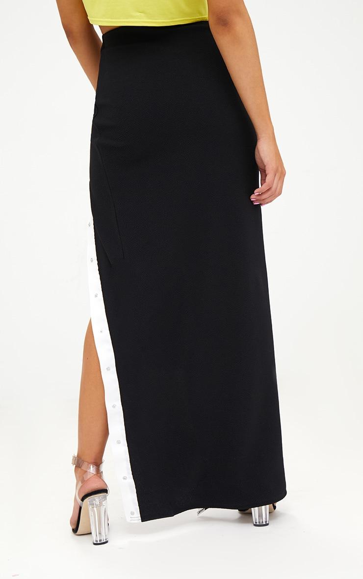 Petite Black Popper Detail Maxi Skirt 4