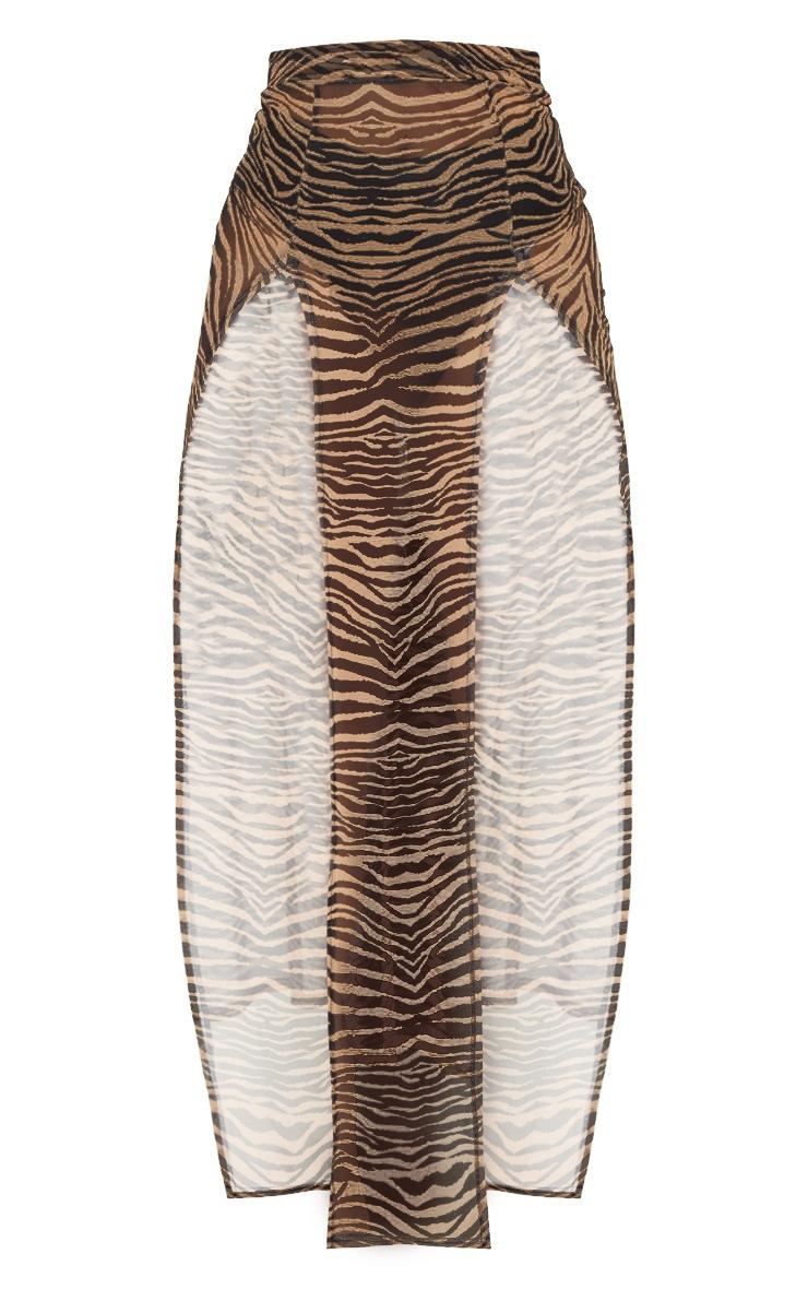 Nude Zebra Mesh Split Skirt 3