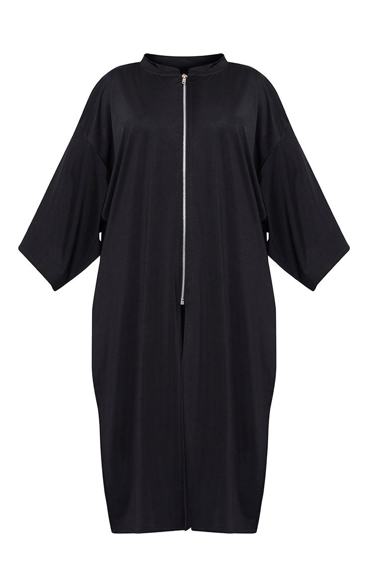 Luisiana  Black Zip Through Slinky  Longline Jacket 3