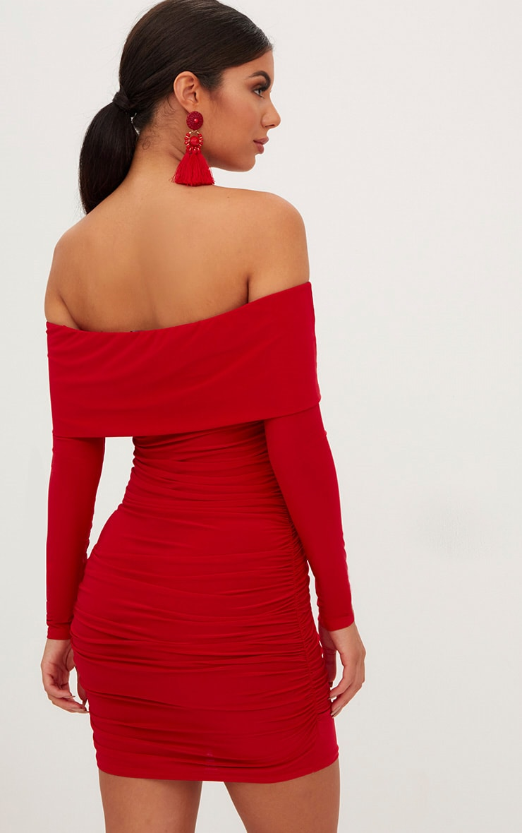 Red Long Sleeve Bardot Ruched Bodycon Dress 2