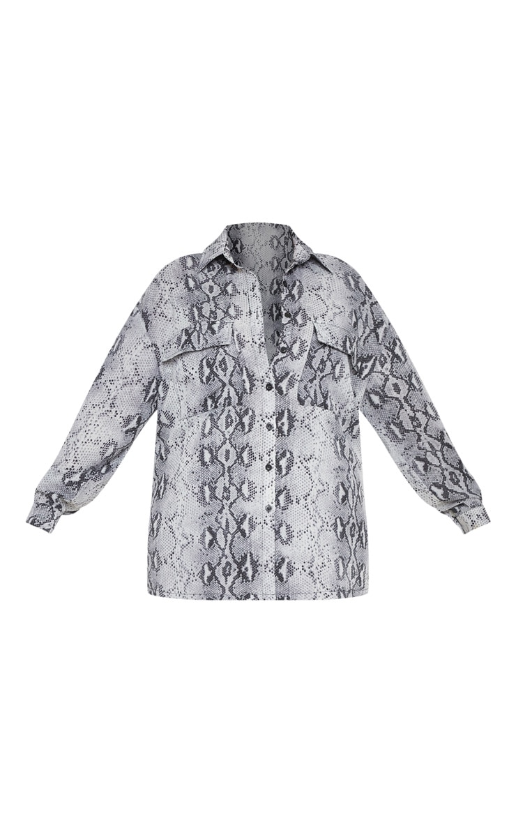 Plus Grey Snake Print Pocket Detail Oversized Shirt 3