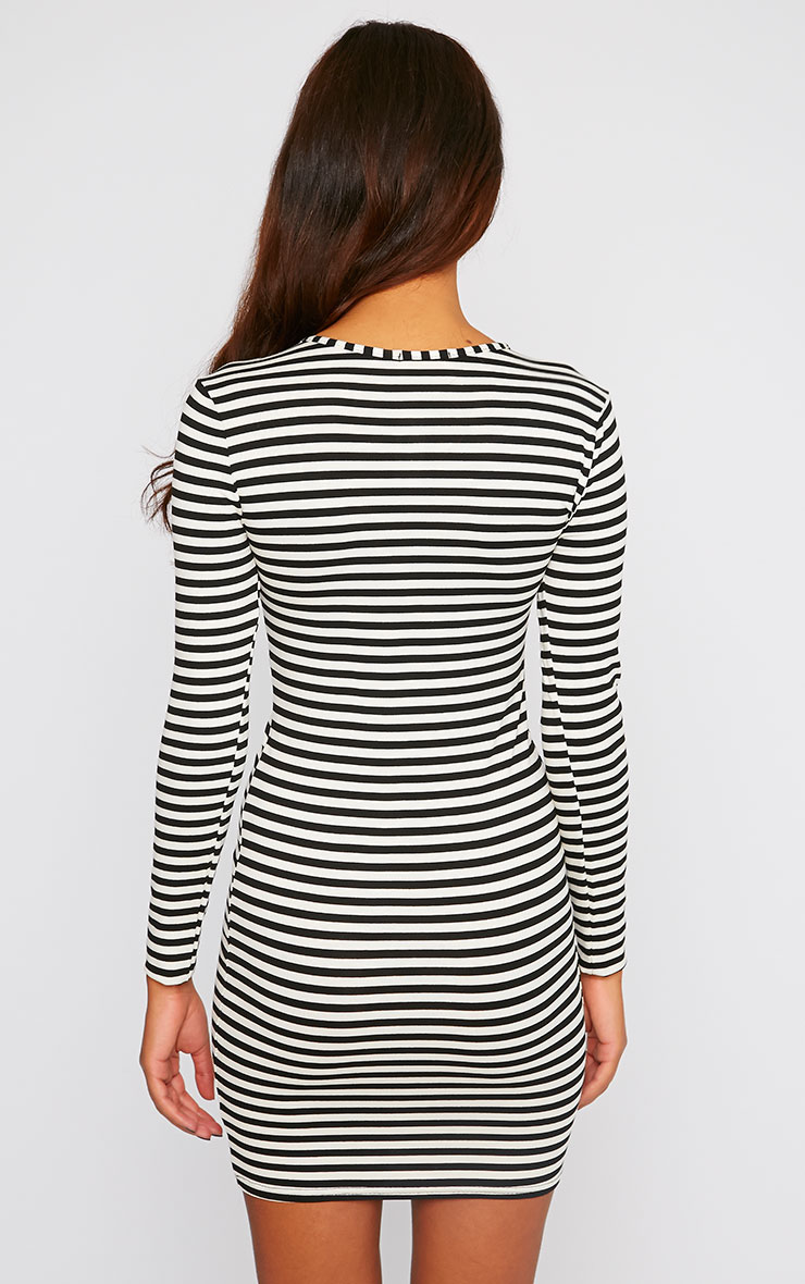 Carolina Monochrome Stripe Long Sleeve Jersey Mini Dress 2