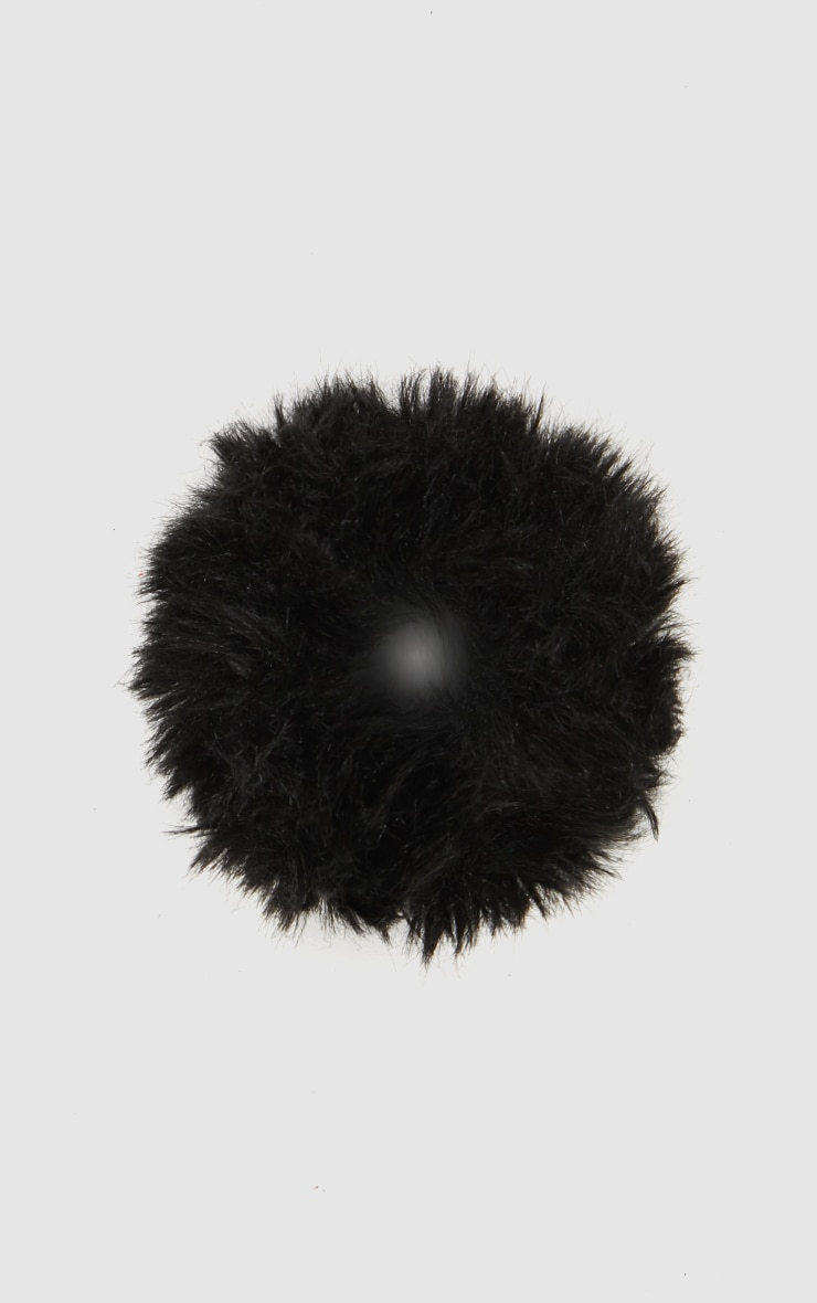 Black Faux Fur Scrunchie 3