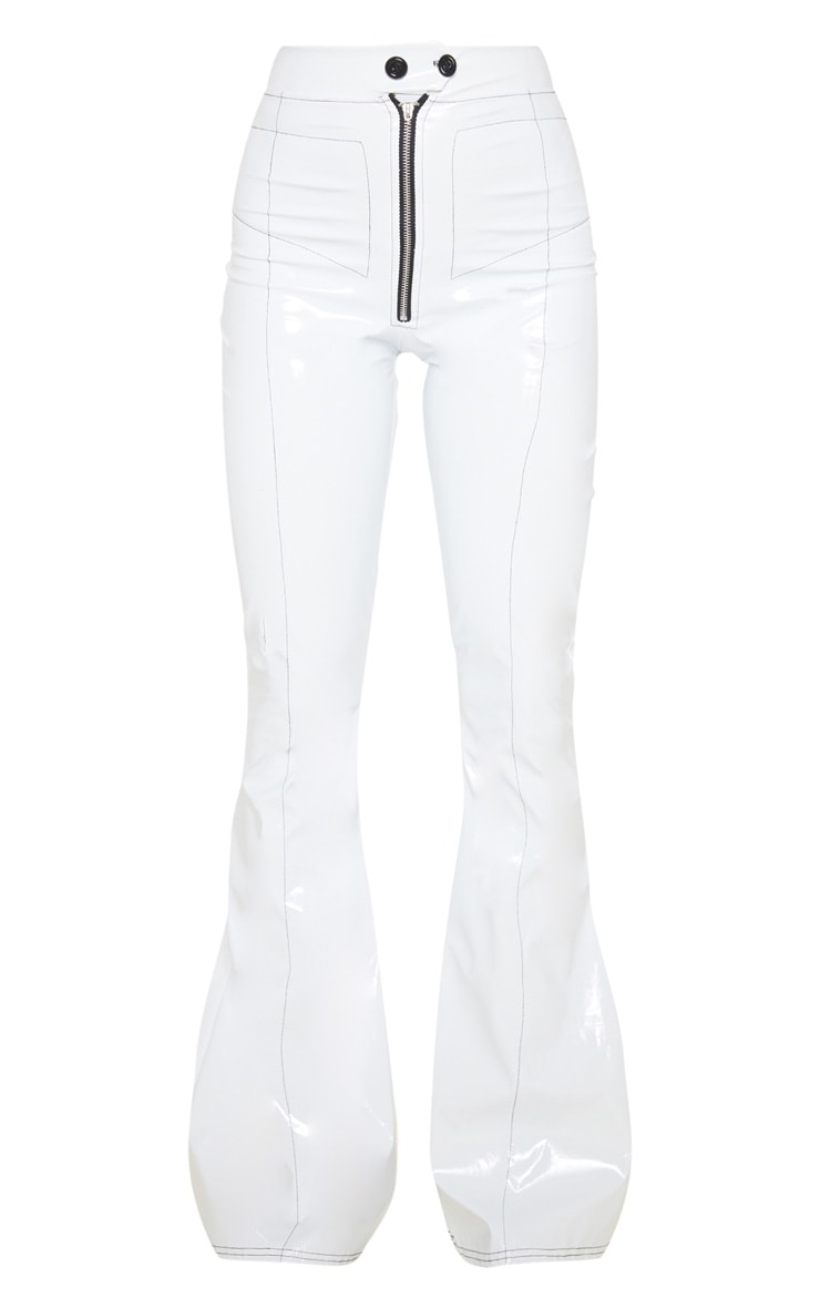 White Vinyl Contrast Stitch Popper Front Flared Pants 3
