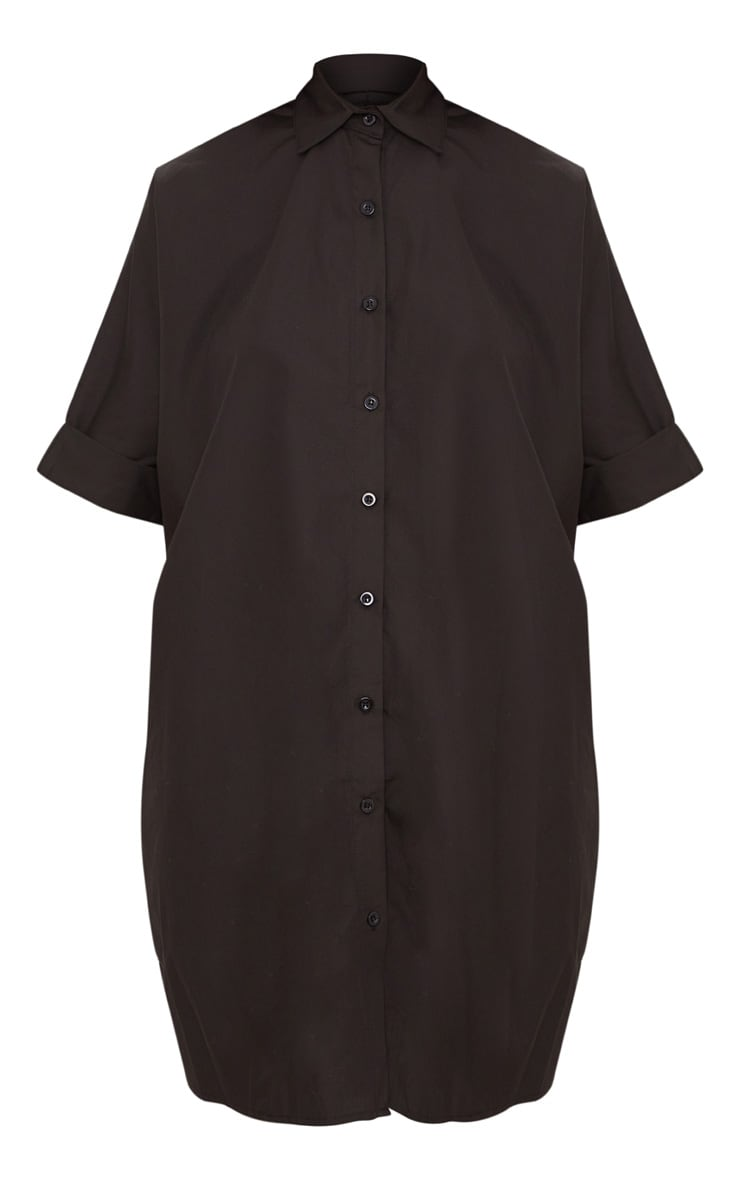 Black Oversized Short Sleeve Shirt Dress 3