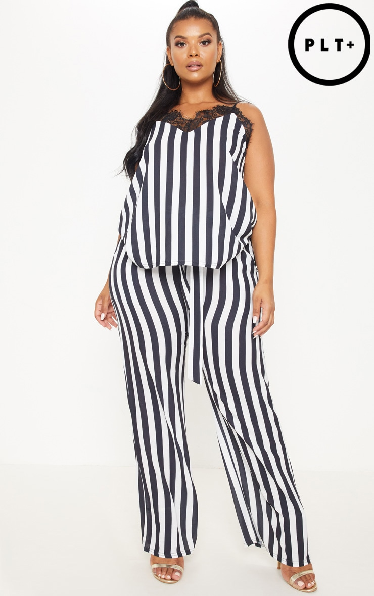 Plus Monochrome Tie Waist Striped Wide Leg Trousers