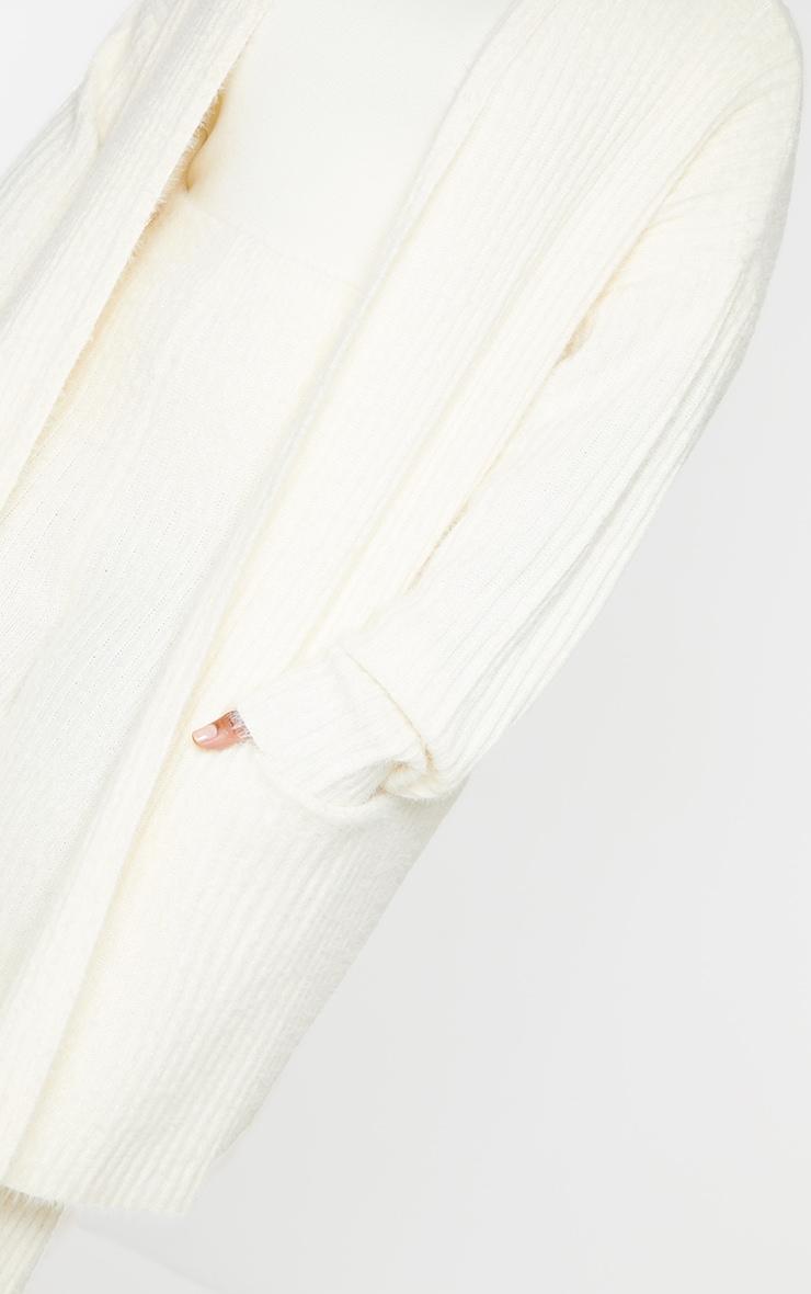 Plus Cream Ribbed Eyelash Knit Belted Cardigan 4
