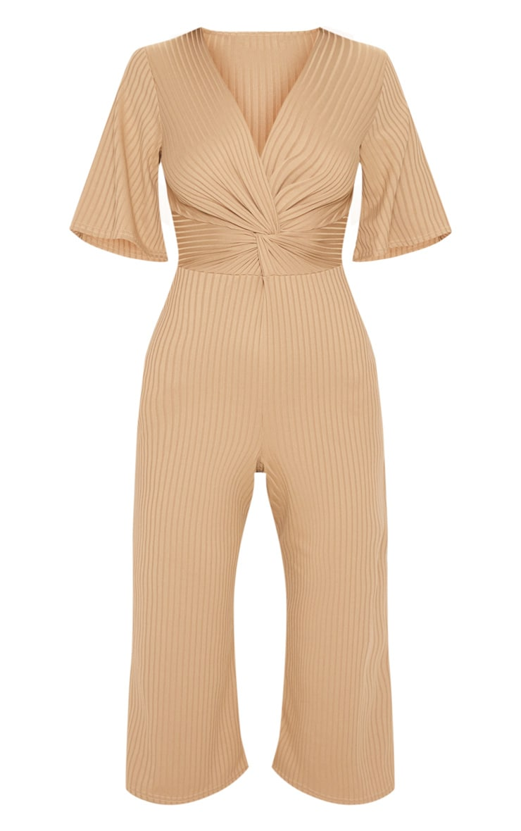 Deep Stone Ribbed Twist Detail Culotte Jumpsuit 3