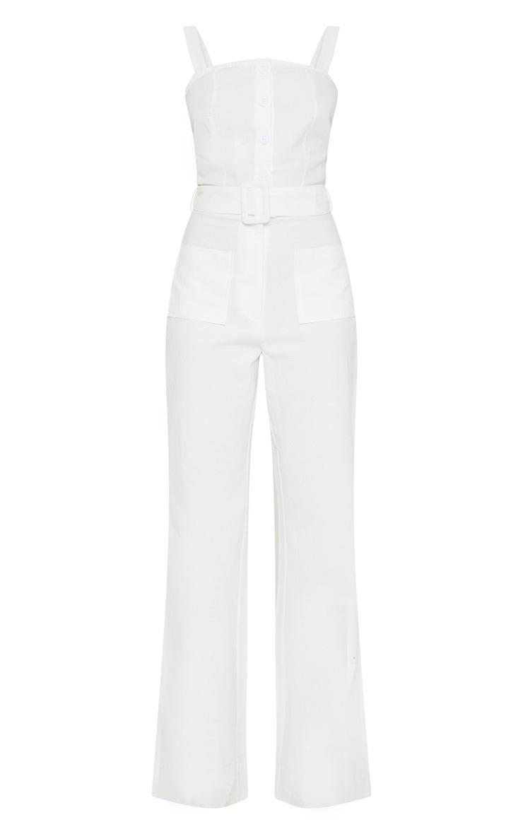Petite White Wide Leg Square Pocket Button Down Jumpsuit 3