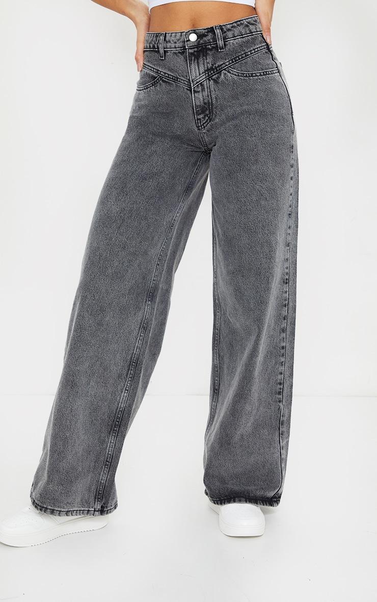 Grey Acid Seam Detail Wide Leg Jeans 2