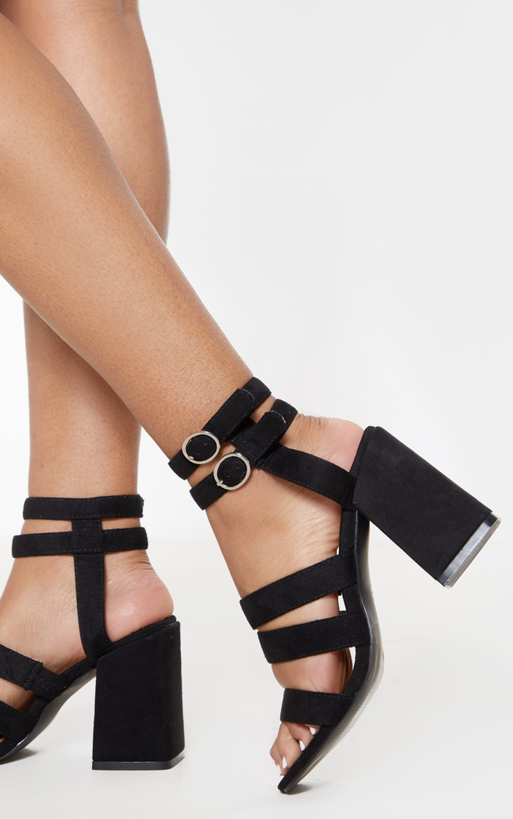Black Double Buckle Strappy Block Heel Sandal 2