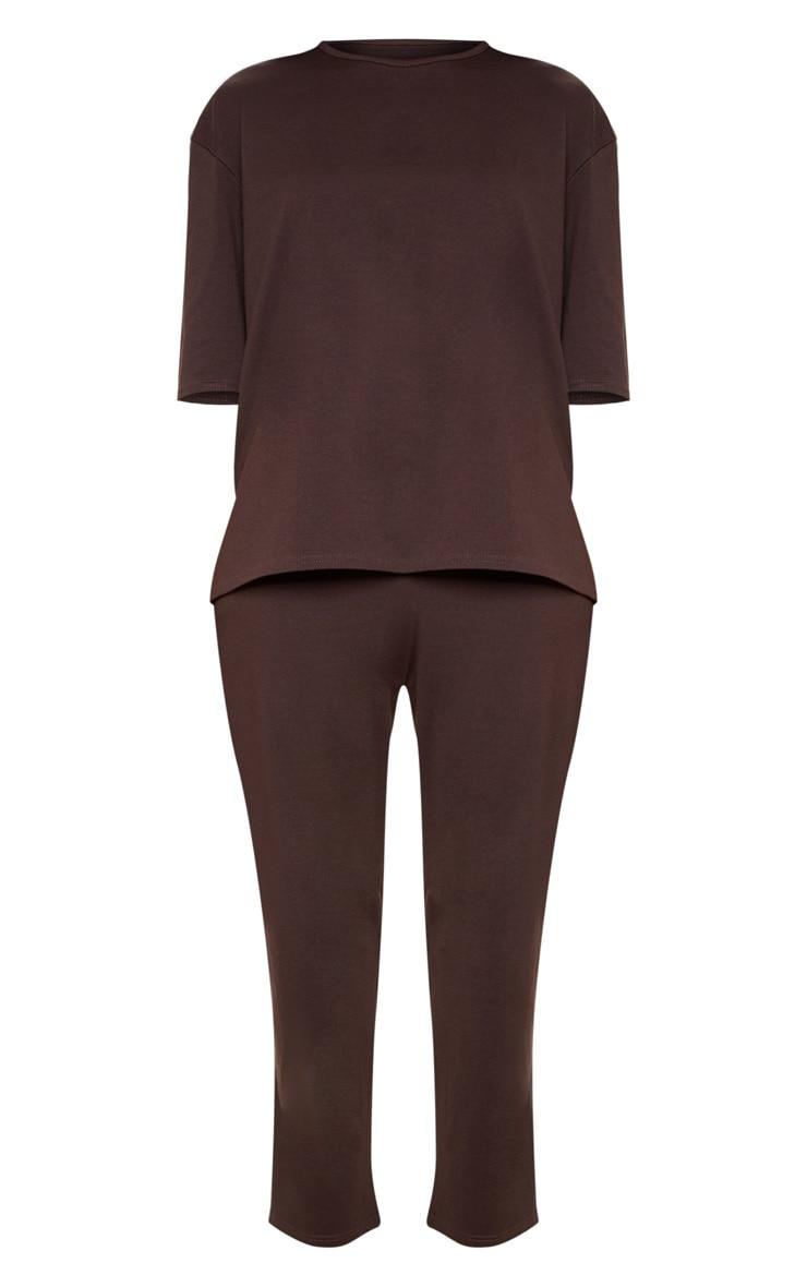 Chocolate Jersey Crew Neck Boxy T Shirt & Trouser Set 3