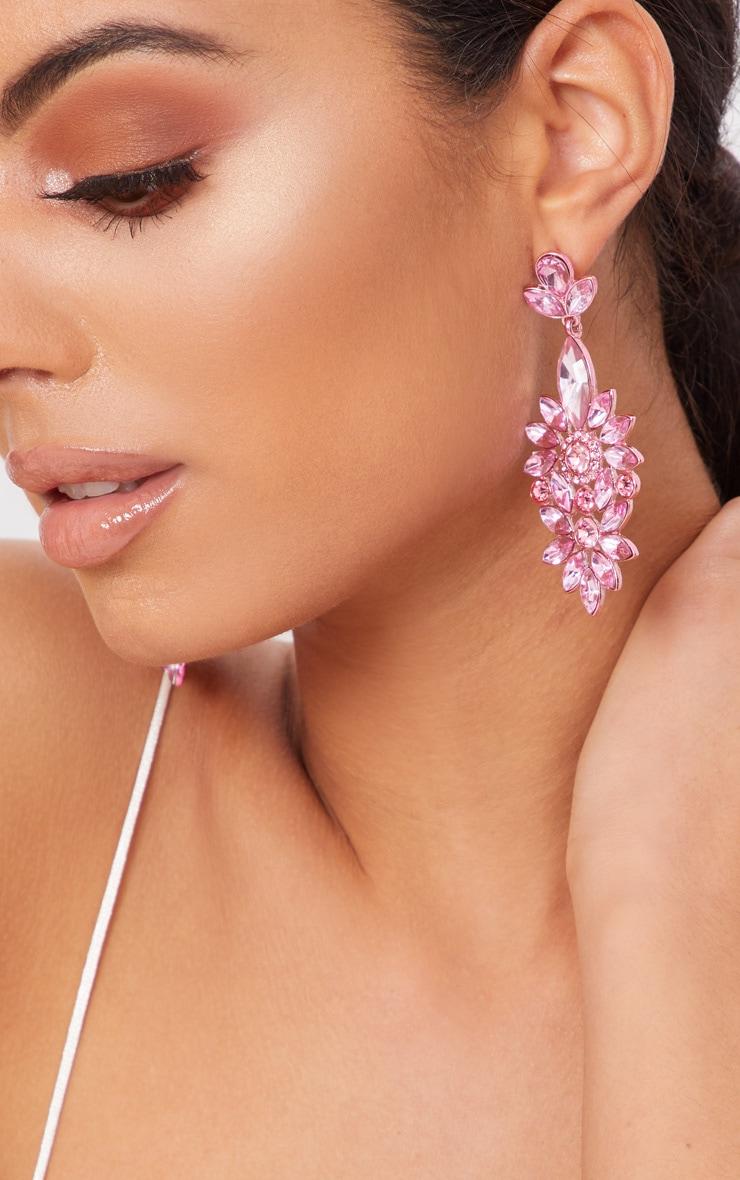 Pink Statement Jewel Drop Earrings 3