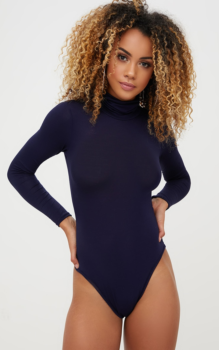 Basic Navy Roll Neck Long Sleeve Bodysuit 1