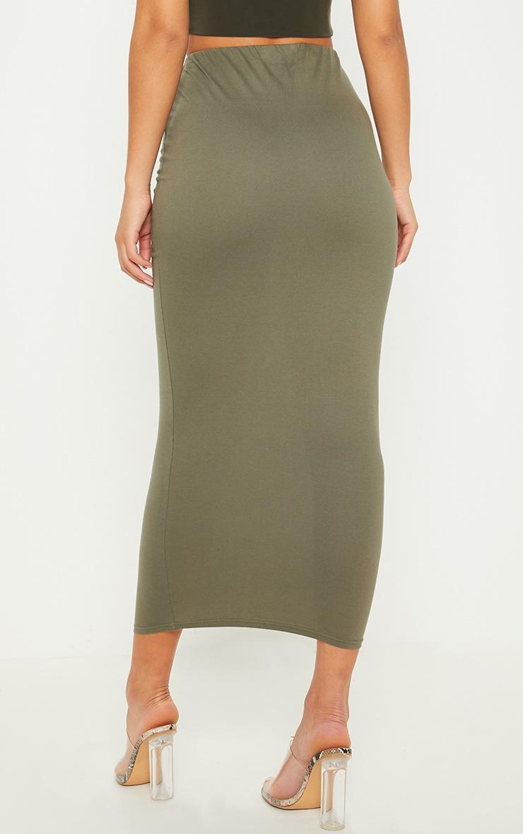 Deep Khaki Jersey Midaxi Skirt  4